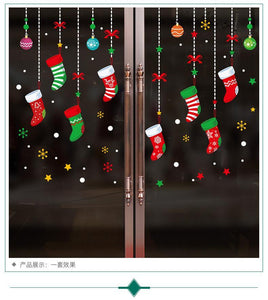 2019 new Santa Claus pendant shop window glass door decorative wall stickers