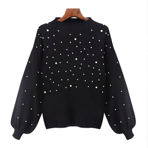 Casual Autumn Turtleneck Beading Knitted Pearl Pullover