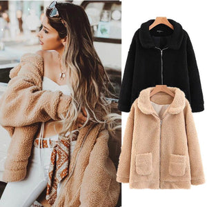 Solid Color Fluffy Faux Fur Coat with Pockets