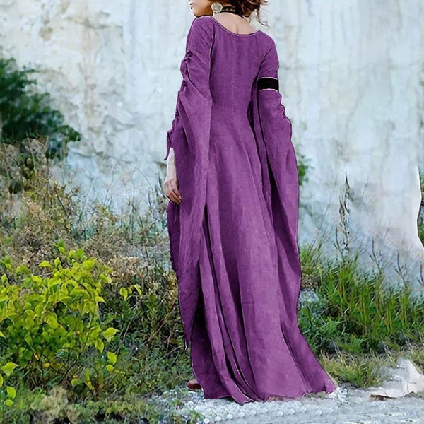 Solid Color Round Neck Long Sleeve Halloween Maxi Dress