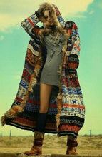 Load image into Gallery viewer, Hooded Long Knit Floral Casual Loose Cardigan Outwear