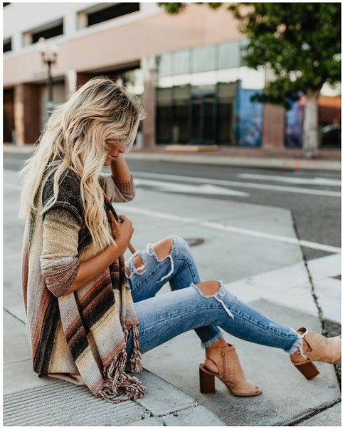 Tassels Long Sleeve Irregular Hem Cowl Neck Sweater