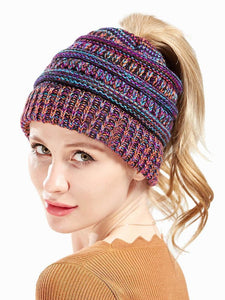 Men and women can fall and winter knitted mixed color warm headgear cap