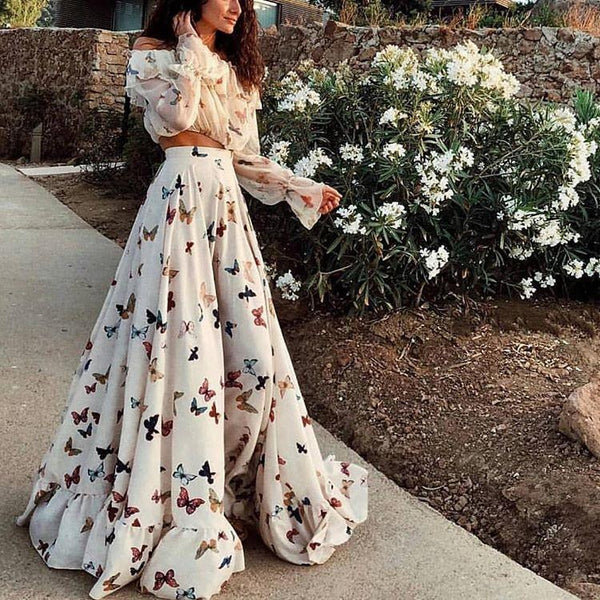 Butterfly Print Off Shoulder Long Sleeve Maxi Dress 2 Pieces Set