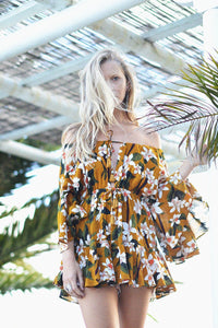Bohemia Floral Print Off Shoulder Lace up Mini Dress