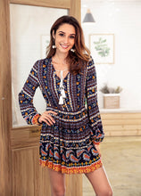 Load image into Gallery viewer, Bohemia Long Sleeve V-neck Floral Tassel Mini Dress
