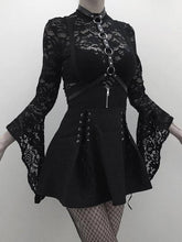 Load image into Gallery viewer, Woman Black Goth Sexy Lace Bodysuit Rompers A Line Skirt Suspender Lace Up See Through Club Wear