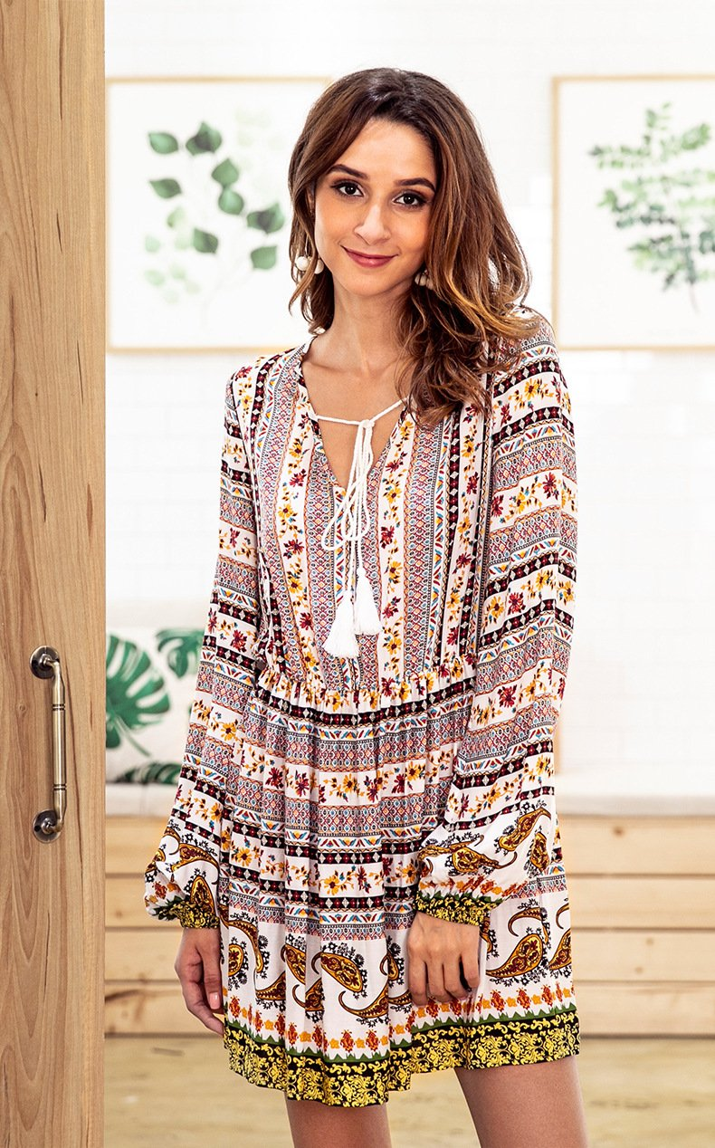 Bohemia Long Sleeve V-neck Floral Tassel Mini Dress