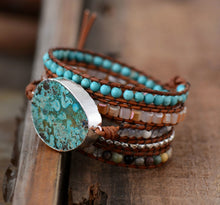 Load image into Gallery viewer, Bohemian Handmade Natural Stones Leather Wrap 5 Layer Bracelet