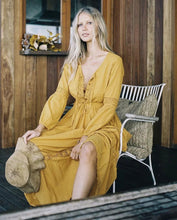 Load image into Gallery viewer, Yellow V Neck Long Sleeve Bohemia Maxi Dress