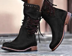 Winter Low Square Heel Rivet Knight Mid Boots