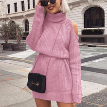 Load image into Gallery viewer, Sexy High Collar Long Sleeve Knit Midi Dress