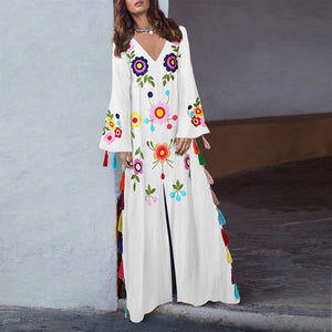 Vintage print v-neck long dress