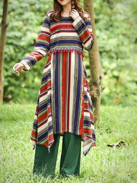 National Stripe Loose Long Sleeve Midi Dress