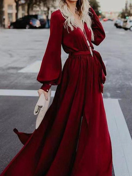 Lace V-Neck Split Long-Sleeved Ruffled Maxi Dress