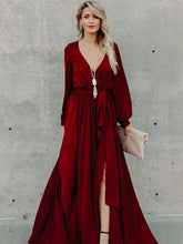 Load image into Gallery viewer, Lace V-Neck Split Long-Sleeved Ruffled Maxi Dress