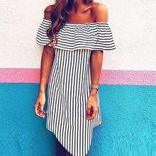 Load image into Gallery viewer, Summer Stripe Off The Shoulder Mini Dress