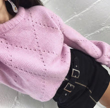 Load image into Gallery viewer, Casual Long Sleeve Solid Color Hollow Out Knit Short Pullover Sweater