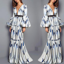 Load image into Gallery viewer, Bohemian Floral Dresses Stitching Slim Dress Maxi Dress
