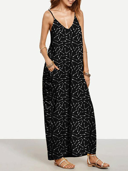 Cool Black Bohemia Spaghetti Straps V Neck Maxi Dress