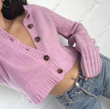 Load image into Gallery viewer, Lose Long Sleeve Solid Color Hollow Out Knit Short Cardigan Sweater Outwear