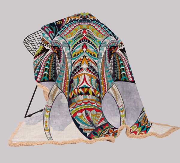 Elephant Series Ins Winter Hoodie Cape Blanket Cloak Plus Thick Double-layered Plush Digital Print Lazy Blanket