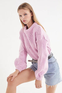 Casual Long Sleeve Solid Color Hollow Out Knit Short Pullover Sweater