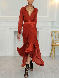 Autumn Winter New Sexy Deep V Long Sleeve Perspective Evening Dress