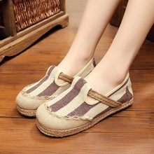 Load image into Gallery viewer, Stripe Pattern Flax Breathable Retro Flat Slip On Women Shoes