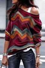 Load image into Gallery viewer, Loose Sloping Shoulder Long Sleeves Pullover Tops
