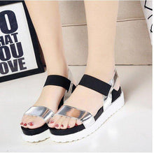 Load image into Gallery viewer, Pure Color Peep Toe Color Match Slip On Elastice Flat Sandals