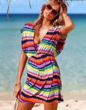 Load image into Gallery viewer, Stripe Deep V Beach Bikini Blouse Mini Dress