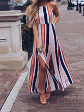 Load image into Gallery viewer, Stripe Sleeveless Side Split Maxi Dress
