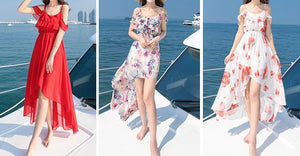 Printed Chiffon Spaghetti Strap Beach Boho Irregular Maxi Dress