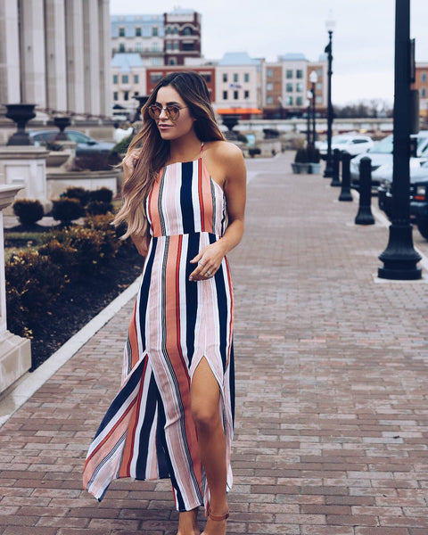 Stripe Sleeveless Side Split Maxi Dress