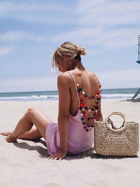 2018 Summer Pompoms Boho Beach Mini Dress