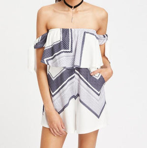 Print Off Shoulder High Waist Short Jumpsuit Romper