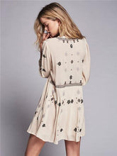 Load image into Gallery viewer, Hot Sale Sleeve lace waist Bohemia V-neck embroidery dress