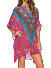 Load image into Gallery viewer, Paisley Print Handkerchief-Hem Open Neckline Batwing Sleeves Short Dress