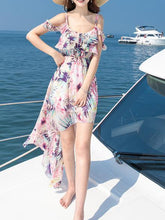 Load image into Gallery viewer, Printed Chiffon Spaghetti Strap Beach Boho Irregular Maxi Dress