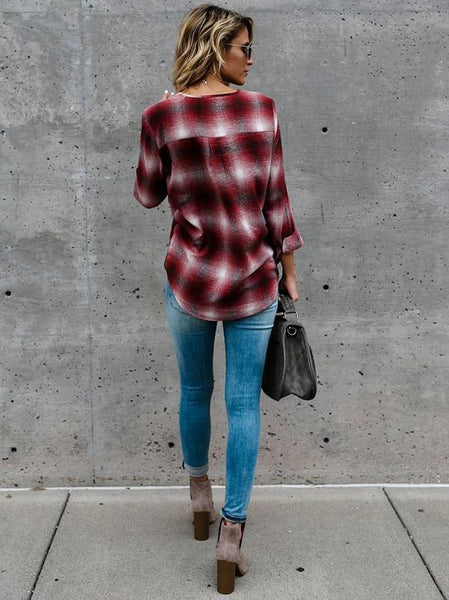 Plaid V Neck Lace Up Long Sleeve T Shirt Blouse