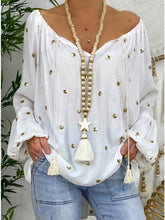Load image into Gallery viewer, New Women's Loose Lantern Sleeve Hollow V-neck Blouse