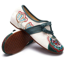Load image into Gallery viewer, Vintage Chinese Embroidered Flower Mary Janes Buckle Casual Flat Loafers