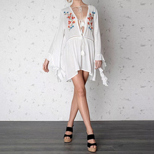 Load image into Gallery viewer, New Embroidered Tassel V Neck Trumpet Sleeve Belted Mini Dress