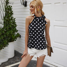 Load image into Gallery viewer, Women Summer Elegant Tie Bow Casual Black Polka-dot Tank Tops