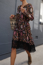 Load image into Gallery viewer, Boho Vintage Floral V-neck Lace-up Lace Loose Midi Dress
