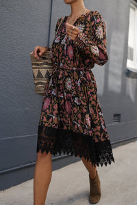 Boho Vintage Floral V-neck Lace-up Lace Loose Midi Dress