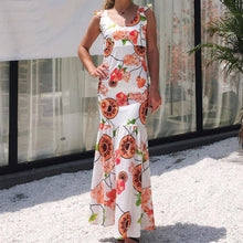 Load image into Gallery viewer, Sexy V-neck Floral Printed Chiffon Mermaid Maxi Dress