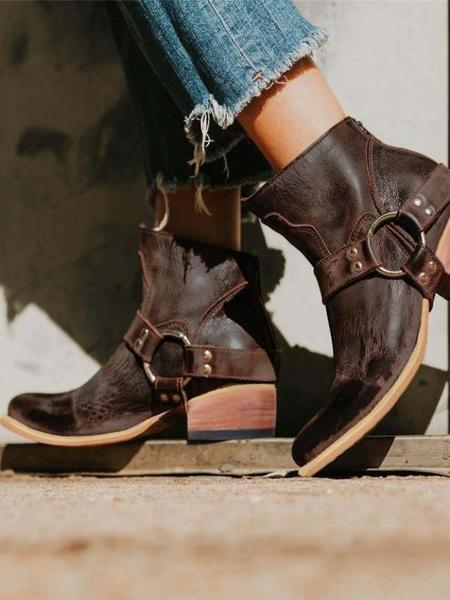 Women Pu Booties Casual Zipper Low Heel Ankle Boots