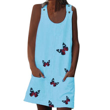 Load image into Gallery viewer, Summer Sleeveless Floral Butterfly Knee Above Casual Loose Mini Dress